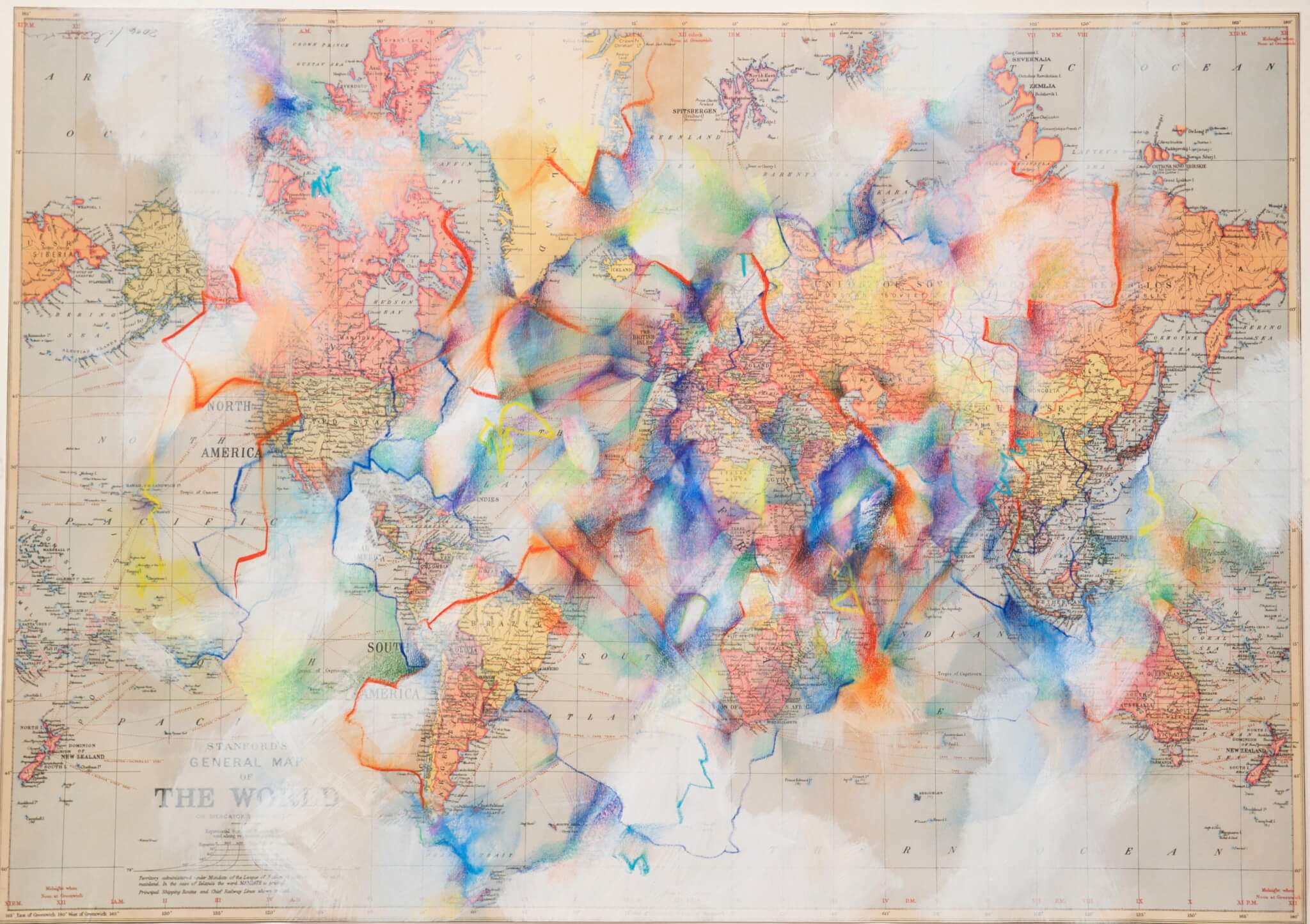 Mapping, no.2, 2016, 50 x 70 cm, Farbstift auf Reprint