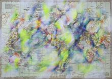 Mapping, no.3, 2016, 50 x 70 cm, Farbstift auf Reprint